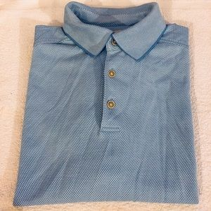 Tommy Bahama Blue & White Check Polo Shirt L
